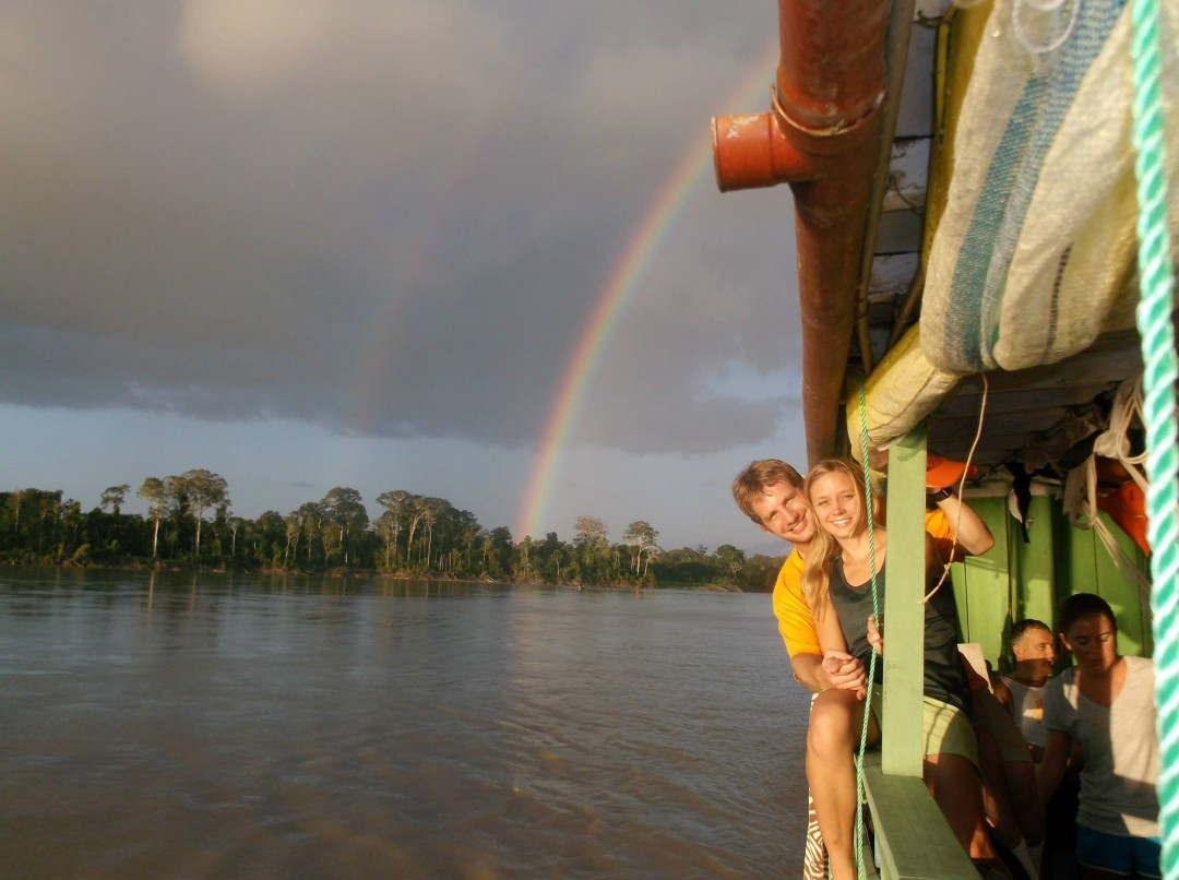 On the boat with my girlfriend (now wife), traveling Maranon River to Nuevo San Juan where the Congresso was held. Photo Credit – Anna Friesen